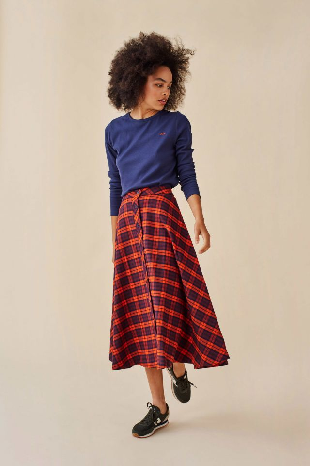 WOMAN CHECK FLANNEL SKIRT