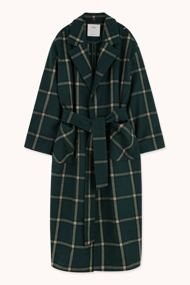 WOMAN CHECKED WOOL LONG COAT