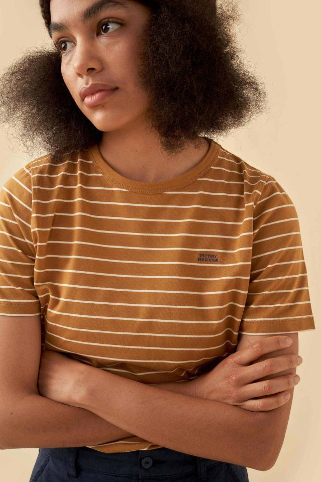 WOMAN STRIPES RELAXED GRAPHIC TEE