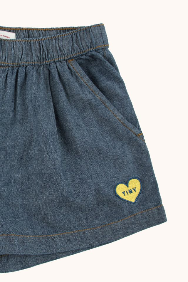 DENIM PLEATED SHORT