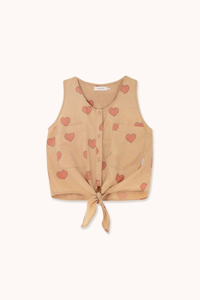 "WOMAN ""HEARTS"" TIE FRONT TOP"