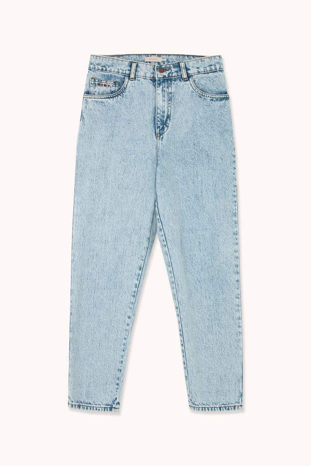 WOMAN WASHED MOM DENIM