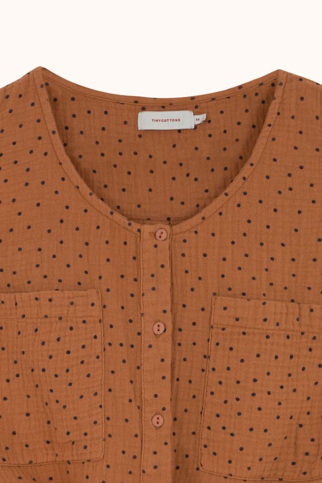 "WOMAN ""TINY DOTS"" TIE FRONT TOP"
