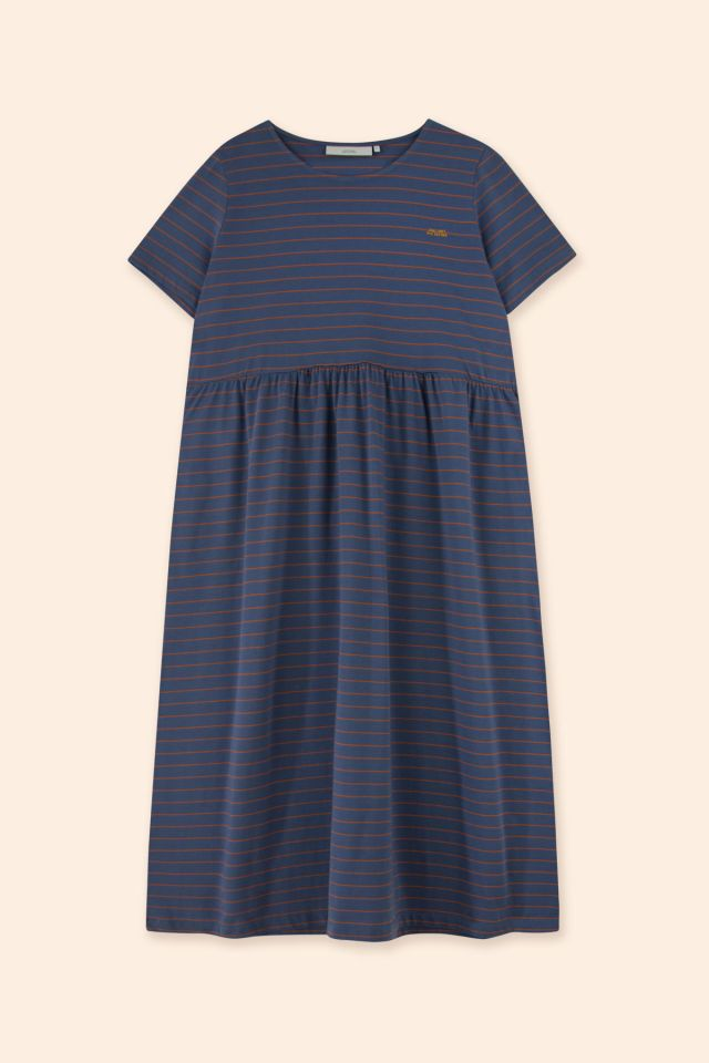 WOMAN STRIPES SHORT SLEEVE DRESS