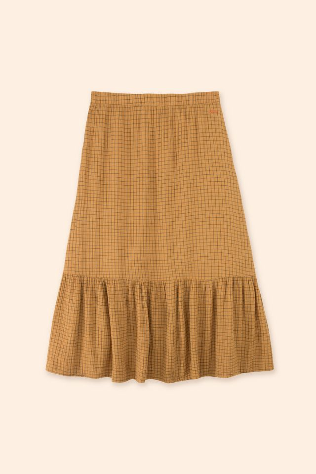WOMAN DOUBLE GAUZE GRID SKIRT