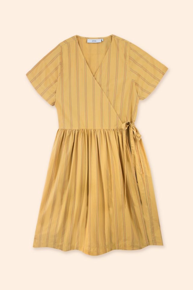 WOMAN STRIPES POPLIN WRAP DRESS
