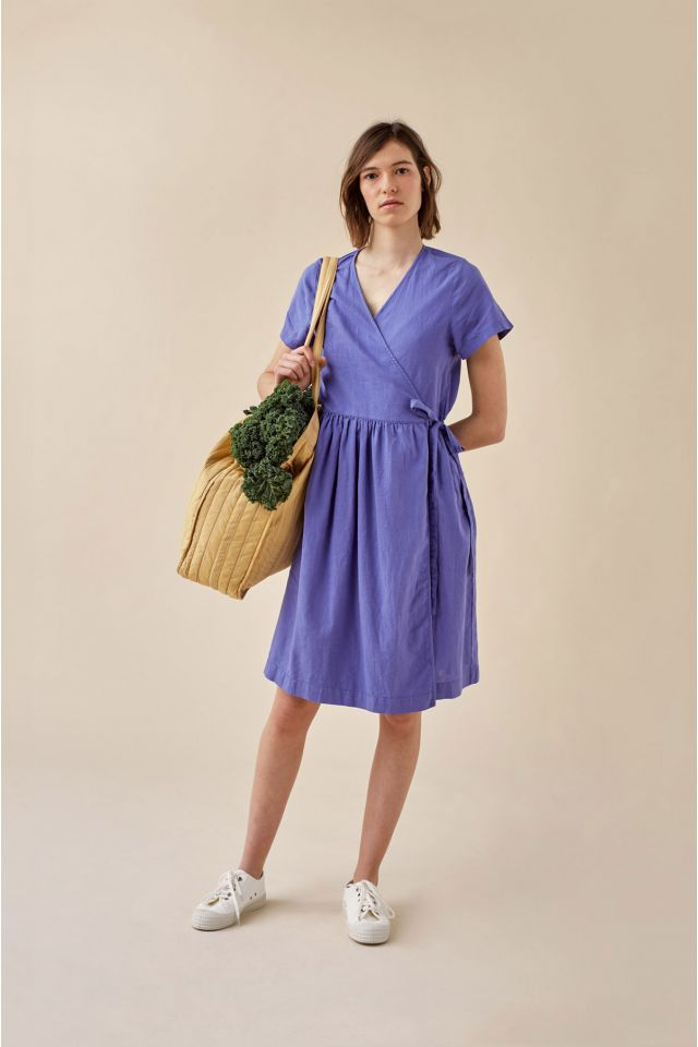 WOMAN LINEN WRAP DRESS