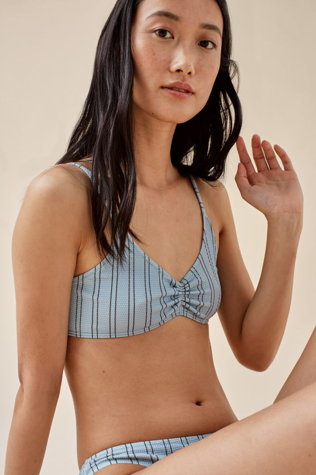 WOMAN STRIPED GATHERED BIKINI TOP